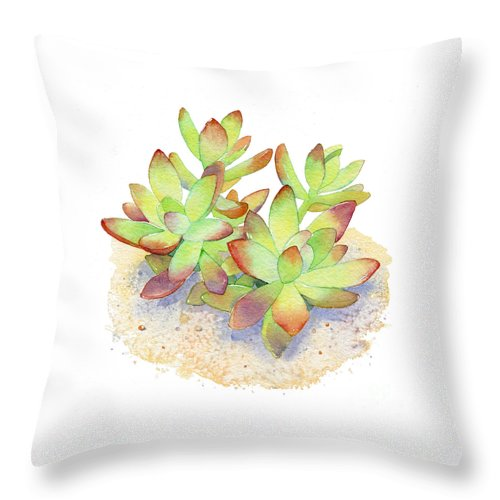 Succulent Throw Pillow featuring the painting California Sunset Succulent by Laura Nikiel