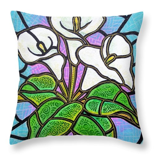 Flowers Throw Pillow featuring the painting Calla Lilies 3 by Jim Harris