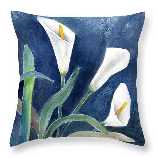 Lily Throw Pillow featuring the painting Calla Lilies by Arline Wagner