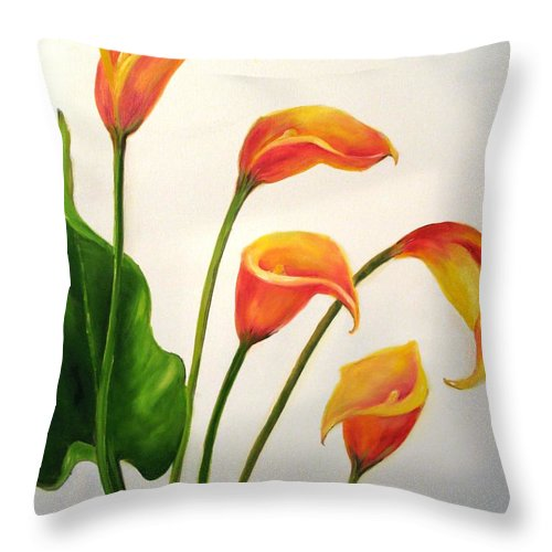 Calla Lilies Throw Pillow featuring the painting Calla Lilies by Carol Sweetwood