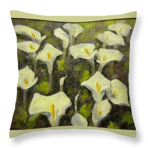 Floral Throw Pillow featuring the painting Calla Lilies by David LeRoy Walker