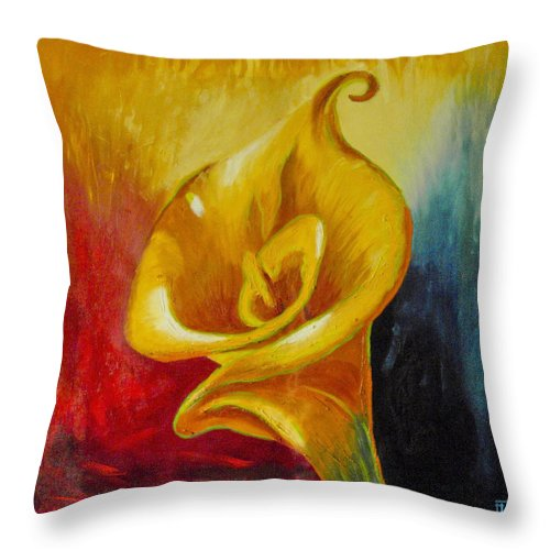 Original Oil Throw Pillow featuring the painting Calla Lilly Part B by Fli Art