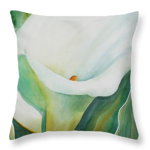 Flower Throw Pillow featuring the painting Calla Lily by Ruth Kamenev