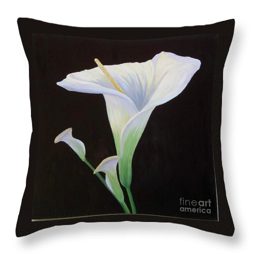 Flower Portrait Throw Pillow featuring the painting Calla Lily X by Mary Erbert