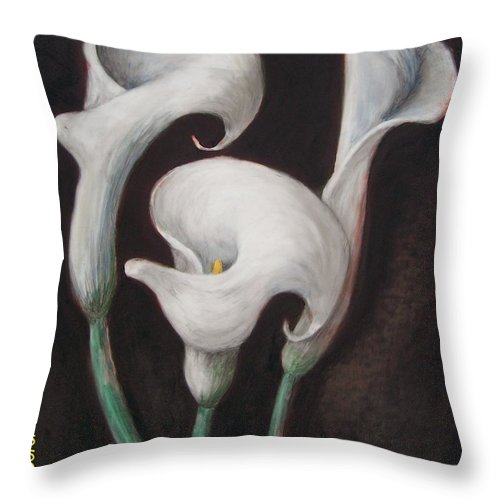Floral Throw Pillow featuring the painting Calla Lily XXI by Mary Erbert
