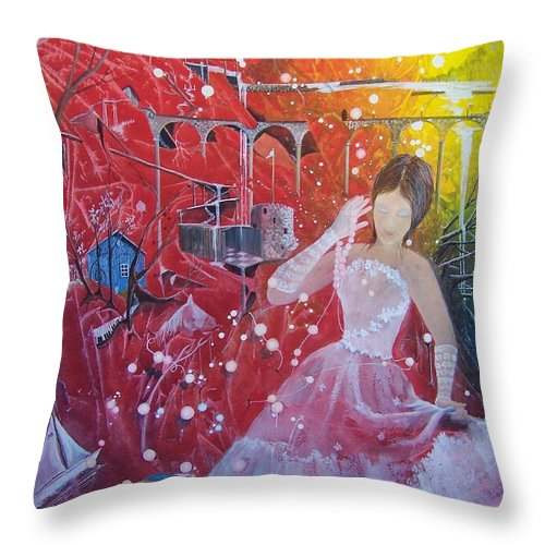 Princess Throw Pillow featuring the painting Callan And The Lost Pearls by Jackie Mueller-Jones