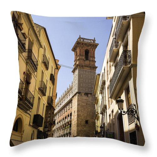 Barrio Carmen Throw Pillow featuring the photograph Calle Serranos In Valencia by For Ninety One Days