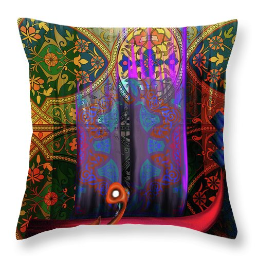 Abstract Throw Pillow featuring the painting Calligraphy 121 2 by Mawra Tahreem