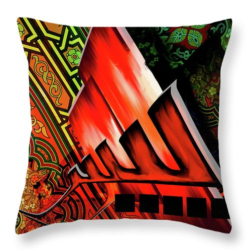 Abstract Throw Pillow featuring the painting Calligraphy 122 2 by Mawra Tahreem