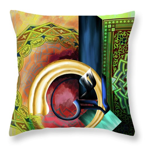 Abstract Throw Pillow featuring the painting Calligraphy 123 3 by Mawra Tahreem