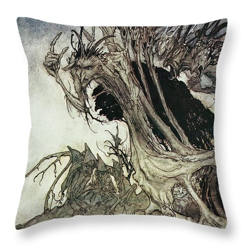 Arthur Rackham Throw Pillow featuring the drawing Calling Shapes And Beckoning Shadows Dire by Arthur Rackham