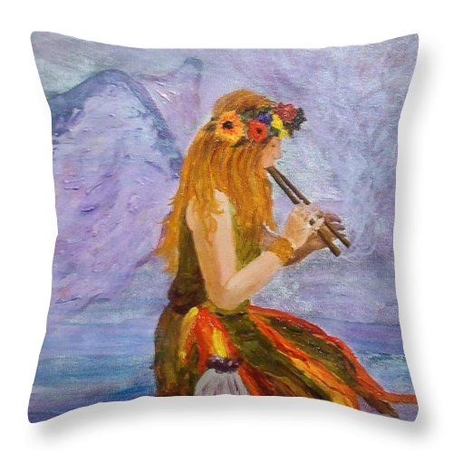 Throw Pillow featuring the painting Calling The Wolf Spirit by Tami Booher