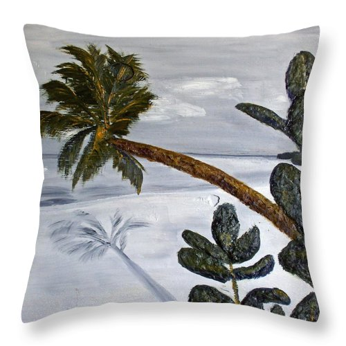 Still Life Paintings Throw Pillow featuring the painting Calm Beach Palm by Leslye Miller