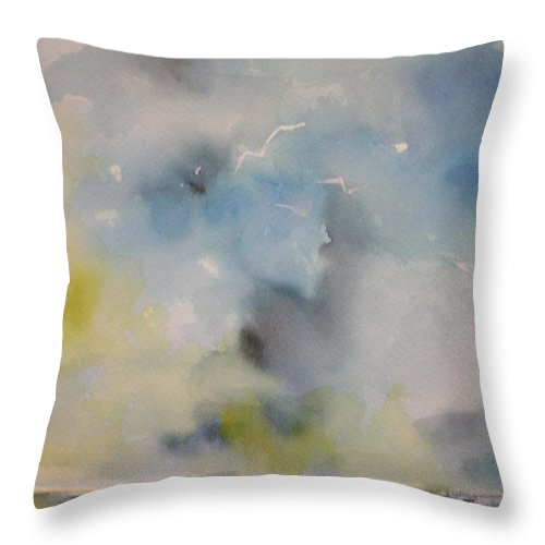Clouds Throw Pillow featuring the painting Calm Before The Storm #1 by Robin Miller-Bookhout