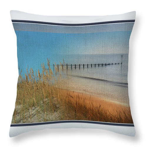 Wharf Throw Pillow featuring the mixed media Calm Dawn Tide Montage by Clive Littin