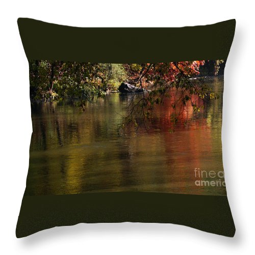 River Throw Pillow featuring the photograph Calm Reflection by Linda Shafer