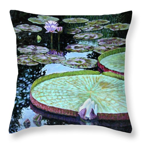 Water Lilies Throw Pillow featuring the painting Calm Reflections by John Lautermilch