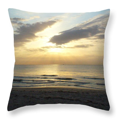 Seashore Throw Pillow featuring the photograph Calm Seas by Peggy King