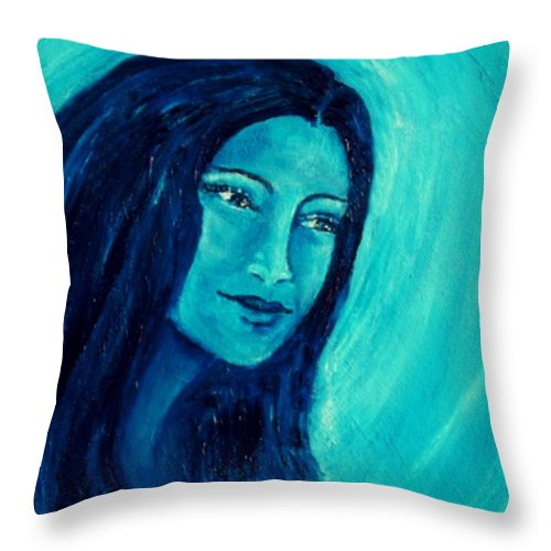 Portrait Throw Pillow featuring the painting Calming Blues by Robin Monroe