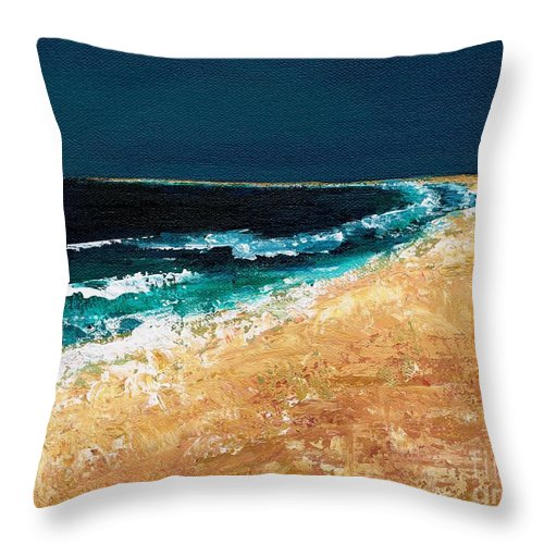 Ocean Tide Throw Pillow featuring the painting Calming Waters by Frances Marino