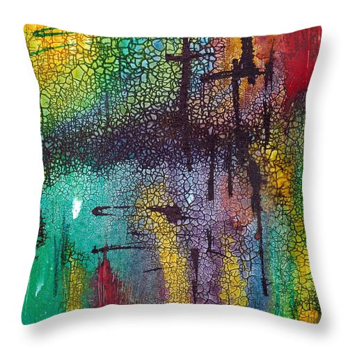 Cross Throw Pillow featuring the painting Calvary by Susan Kubes