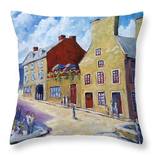 Rural Throw Pillow featuring the painting Calvet House Old Montreal by Richard T Pranke