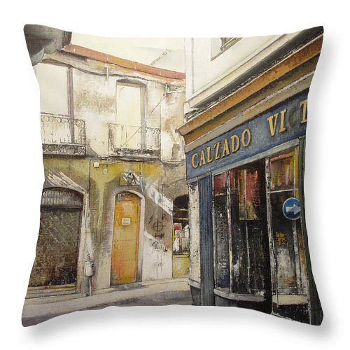 Calzados Throw Pillow featuring the painting Calzados Victoria-leon by Tomas Castano