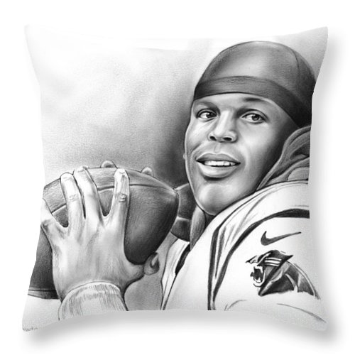Cam Newton Throw Pillow featuring the drawing Cam Newton by Greg Joens