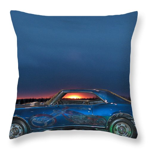 Camero Chopper Cars Motorcycle Bike Sunset Classic Throw Pillow featuring the photograph Camaro And Chopper by Andrea Lawrence