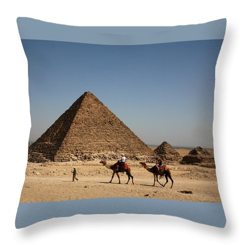 Camels Throw Pillow featuring the photograph Camel Ride At The Pyramids by Donna Corless