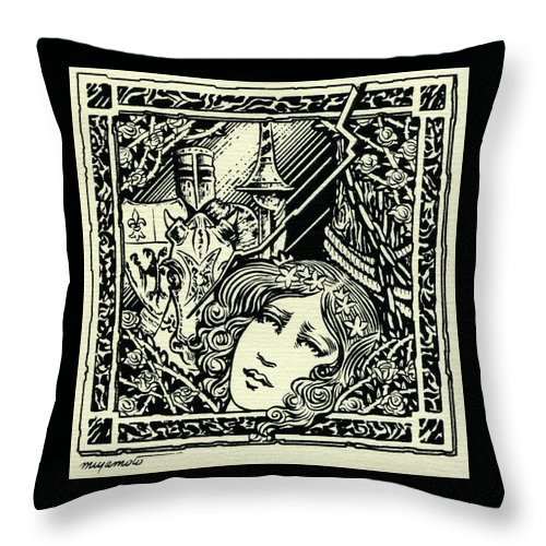 Camelot Throw Pillow featuring the drawing Lancelot And Guinevere by Lance Miyamoto