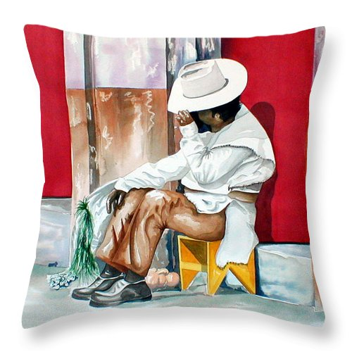 South Of The Border Throw Pillow featuring the painting Camera Shy by Kandyce Waltensperger