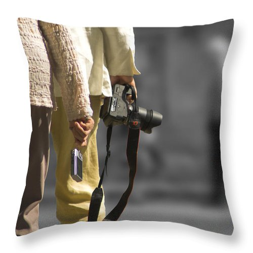 Cameras Throw Pillow featuring the photograph Cameras Unholstered by Hazy Apple