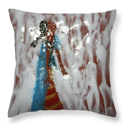 Jesus Throw Pillow featuring the ceramic art Camille - Tile by Gloria Ssali