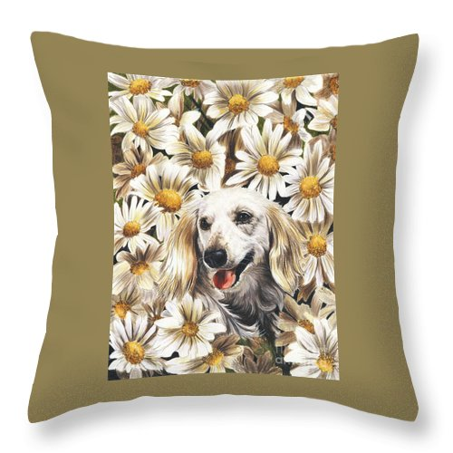 Dachshund Throw Pillow featuring the drawing Camoflaged by Barbara Keith