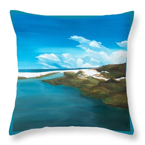 Beach Throw Pillow featuring the painting Camp Creek by Racquel Morgan