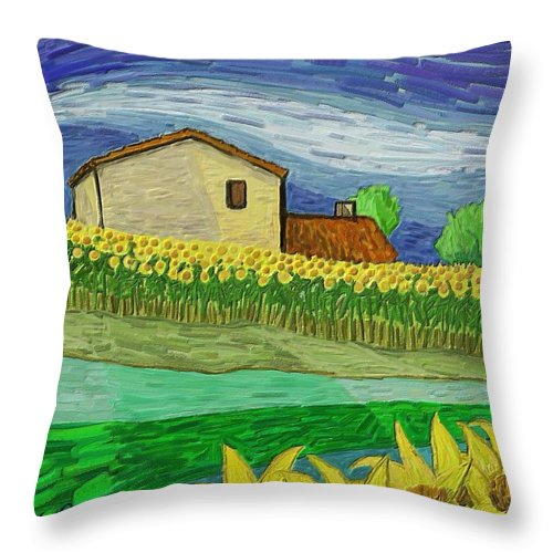 Figurative Throw Pillow featuring the painting Camp De Girasols by Xavier Ferrer