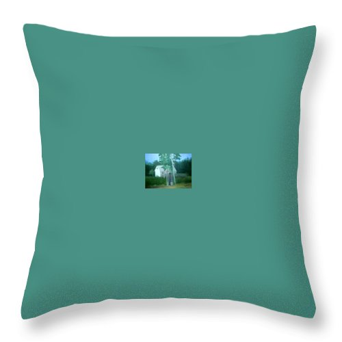 Trees Throw Pillow featuring the painting Camp by Sheila Mashaw