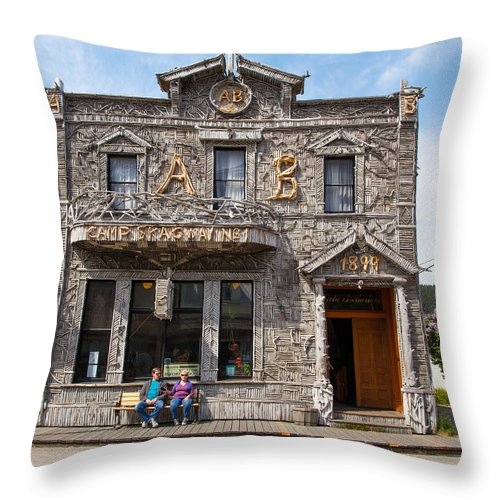 Camp Throw Pillow featuring the photograph Camp Skagway No. 1 Building by Allan Levin