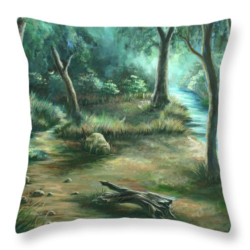 Landscape Throw Pillow featuring the painting Camping At Figueroa Mountains by Jennifer McDuffie
