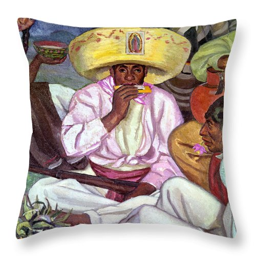 1922 Throw Pillow featuring the photograph Camping Zapatistas, 1922 by Granger