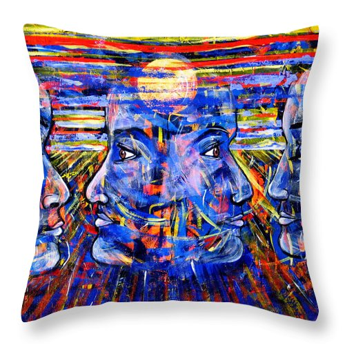 Confrontation Throw Pillow featuring the painting Can Not Live A Lie by Rollin Kocsis