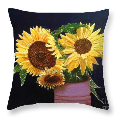 Sunflowers Throw Pillow featuring the painting Can Of Sunflowers by Diane Donati