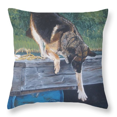 Dog Throw Pillow featuring the painting Can She... by Betty-Anne McDonald