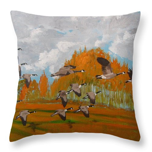 Canadian Geese Throw Pillow featuring the painting Canadian Geese by Richard Le Page