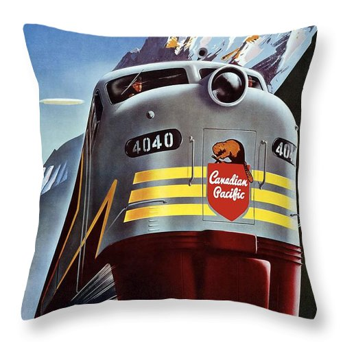 Canadian Pacific Throw Pillow featuring the mixed media Canadian Pacific - Railroad Engine, Mountains - Retro Travel Poster - Vintage Poster by Studio Grafiikka
