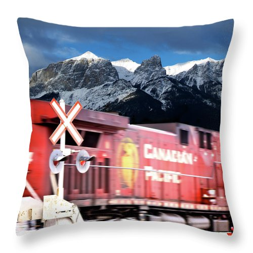 Train Throw Pillow featuring the photograph Canadian Pacific Trail Slices Through The Rockies by Lisa Knechtel