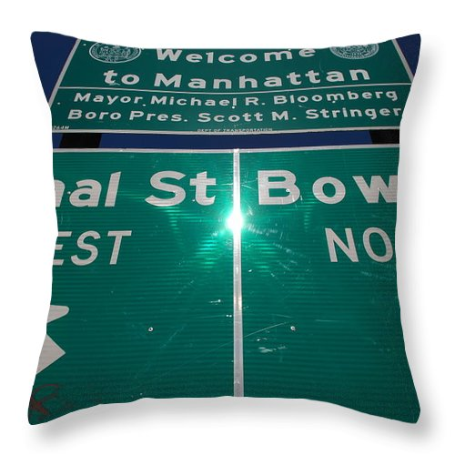Pop Art Throw Pillow featuring the photograph Canal And Bowery by Rob Hans
