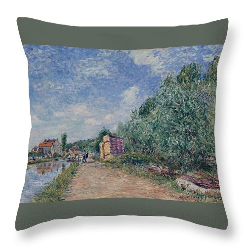 Alfred Sisley Throw Pillow featuring the painting Canal Du Loing-chemin De Halage by Alfred Sisley