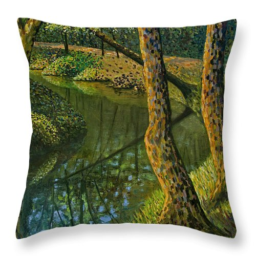 Impressionism Throw Pillow featuring the painting Canal In Sunlight by Don Perino